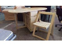 Butterfly dining table and 3 folding chairs