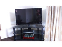 Black Smoked Glass 3 Tier TV Entertainment Stand