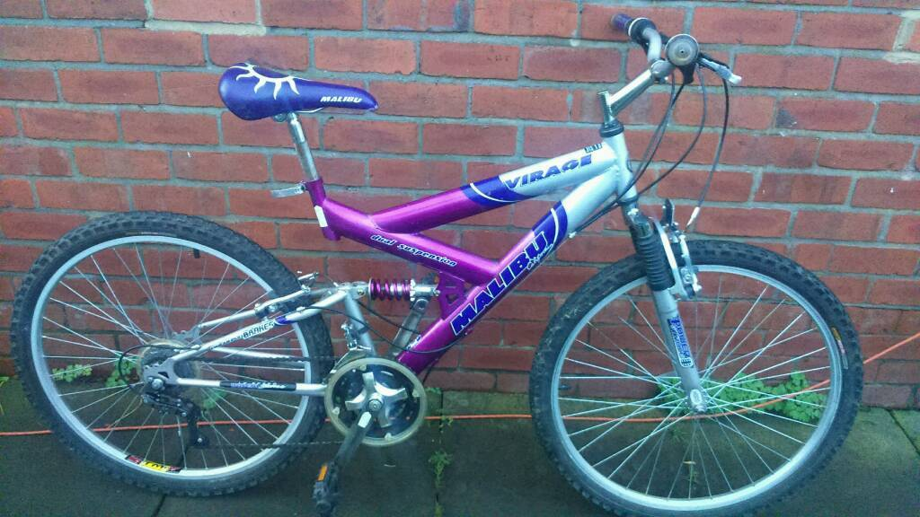 Adults Malibu virage mountain bike 18 inch frame good working condition and ready to ridein Sunniside, Tyne and WearGumtree - 26 inch wheels with good tyres, 15 speed gripshift gears, front and rear suspension, good brakes, good seat quick release, can deliver for cost of fuel, contact bill 07478309256 sunniside NE16 5NU