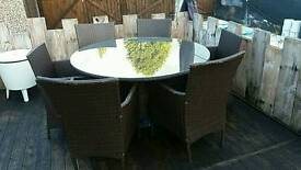 Rattan table 6 chairs