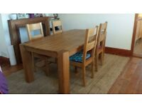 solid oak table and x4 matching oak chairs
