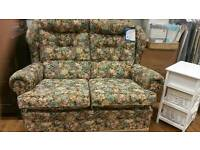 2 seater cottage style sofa in hardwearing floral fabric