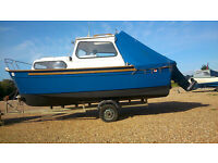 Hardy 18 Navigator Motor / Fishing Boat + Trailer incl. 6ft Standing Shelter & 76hp Outbd. (not Rib)