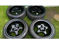 "Set of 4 15"" deep dish alloys 4x100 vw Lupo Golf Vauxhall Honda Renault Rover"