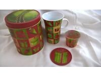 GIFT FOR TEACHER MUG CANDLE HOLDER COASTER IN A TIN