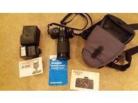 Pentax 35mm SLR camera with Pentax AF 200S flash