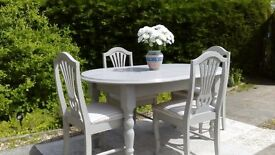 Lovely, Grey Dining Table and 4 Chairs. Shabby Chic. Delivery Available.