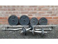 BARGAIN DOMYO WEIGHTS SET WITH STRAIGHT & EZ & DUMBBELL BARS