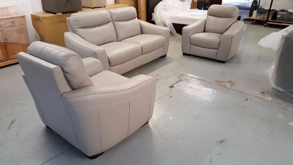 Furniture Village Armchairs cressida grey leather 3 seater sofa & 2 armchairs ***can deliver
