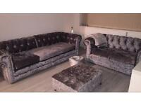 Grey/Silver Crushed Velvet Sofas and Footstools - Offers Welcome