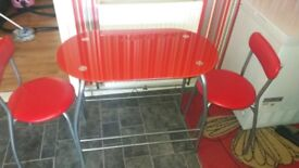 Red glass kitchen table