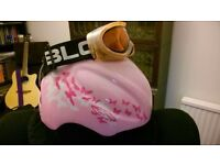 Girls Ski Helmet Pink and Goggles