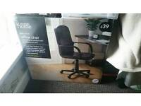 Brand new black leather office chair