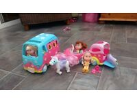 Rosie's world Camper Van, Car and Horse Box with dolls