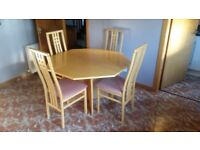 Gangso Danish extending octagonal dining table and four chairs