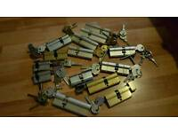 An assortment of 14 euro cylinder locks, all new including 9 anti-snap