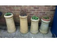 4 antique chimney pots 2 heights ideal garden ornament fill with favourite plants