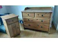 Bedroom furniture - bedside table & chest of drawers