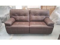 NEW SCS Axis BROWN LEATHER 3 Seater Manual Recliner & 2 Seater Manual Recliner Bargain £995 Can Del
