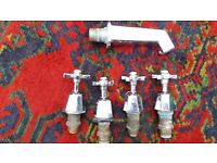 Set of 4 water valves including a tap