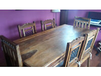 Quality Wooden Dining room table and 6 chairs