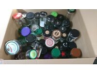 Big box of free clean glass jars with lids