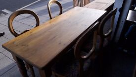 big pine wood table with 4 chairs for great price £80