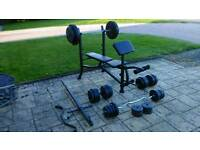 Weight bench and 125kg weights