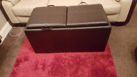 Brown twin ottoman bench with stools loads of storage