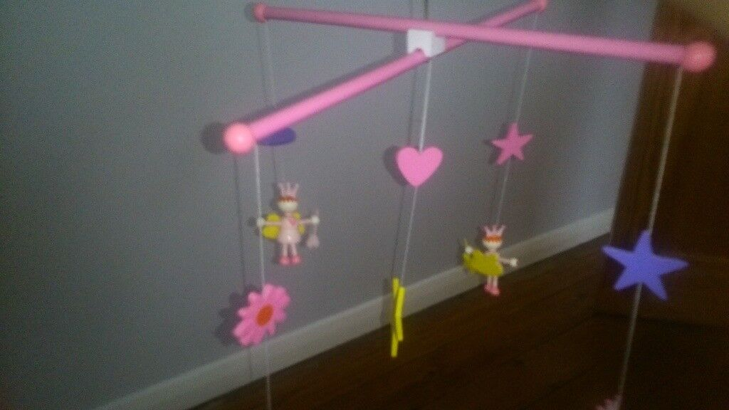 GIRL PINK PURPLE LILAC WOOD FAIRY STAR HEART MOBILE OVER BED HANGING CHARMS