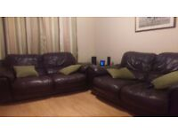 Two seater leather sofa (dark brown) - 2 available