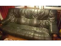 MUST GO ASAP - Sofa and 2 armchairs, green leather and oak, super comfy and free to take away