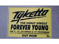 "TYKETTO ""FOREVER YOUNG"" LAMINATED PROMO POSTER - MINT CONDITION"