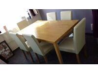 oak table & 6 cream high back chairs