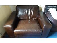 Next dark brown leather snug chair only 3 months old