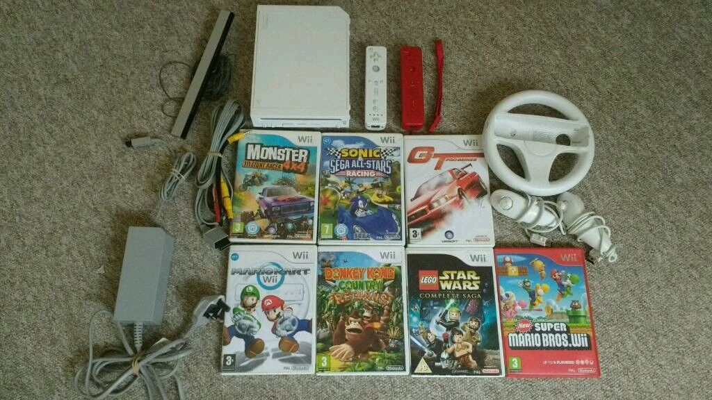 Wii games console plus games