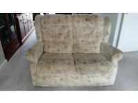 2-seater sofa, fabric covered, in good condition. Matching 3-seater sofa also available
