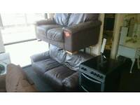 Leather 3+2 sofa ( free delivery)