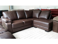 NEW Graded Brown Faux Leather Right Hand Corner Sofa Suite FREE LOCAL DELIVERY