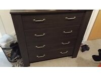 Chest of drawers, 4 drawers, black-brown