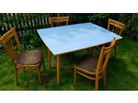 Vintage Melamine Kitchen Table and Four Chairs