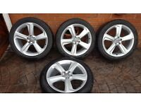 "ORIGINAL GENUINE ALLOY WHEELS 20"" AUDI Q5 SQ5 S LINE 8R0601025CA 8R0601025BP 8R WINTER TYRES DUNLOP"