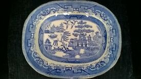 Blue and White old meat platter