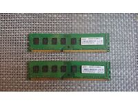 2x 4GB DDR3 RAM for PC, 1333 DIMM