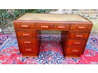 GENUINE ART DECO 1930,S PERIOD ANTIQUE MAHOGANY LEATHER TOP PEDESTAL DESK V.G.C.