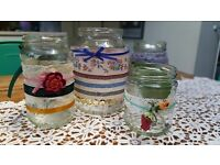 WEDDING DECOR: Hand decorated jars perfect for weddings