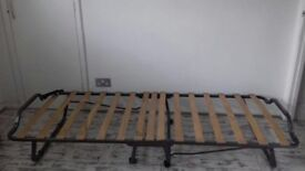 Single Bed Folding Guest Metal Bed Frame Steel Compact Fold Away with Wooden Slats - Unused
