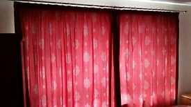 Curtains - lined, red, full length.