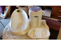 Baby bath top and tail bowl and nappy bin