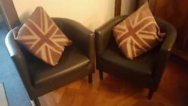 X2 black small armchairs